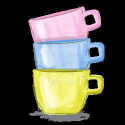 グラスベイクはキャセロールやリプトンマグなどポップで可愛いミルクグラスのイラスト