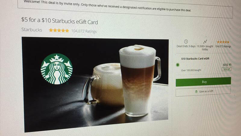 【誰でも簡単】スタバの$10ギフトカードが半額の$5で買える裏ワザ
